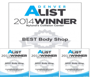 Four Times Denver A-list Award Winner Nylunds Collision Winner Denver A-List Best Body Shop 2014, 2013, 2012, 2011
