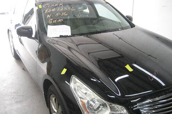 This 2007 Infiniti G35x needed its roof, front and rear doors, rear body and bumper repaired.